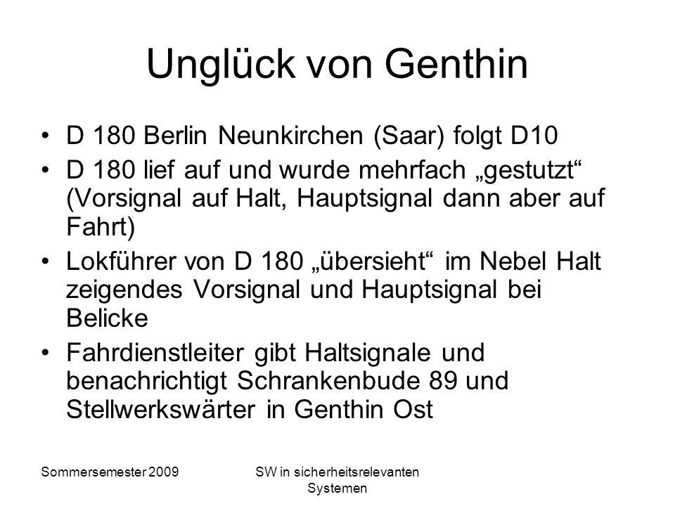 Sommersemester 2009SW in sicherheitsrelevanten Systemen zweites Beispiel – Genthin 1939 22.12.1939: D10 Berlin – Köln fährt in Brandenburg Reichsbahn