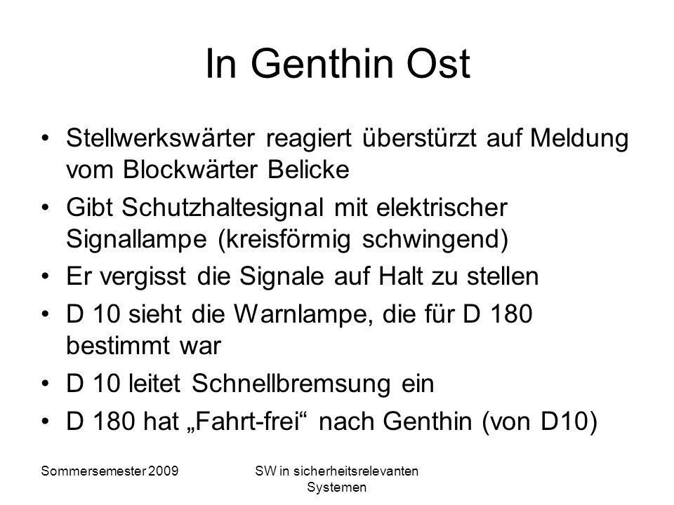 Sommersemester 2009SW in sicherheitsrelevanten Systemen Fahrt nach Genthin D 180 sieht nun nur noch Fahrt-Signale – die von D 10! Wärter in Schrankenb