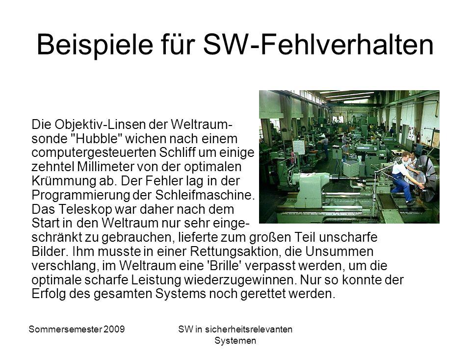 Sommersemester 2009SW in sicherheitsrelevanten Systemen Beispiele für SW-Fehlverhalten Thule, Grönland, 1960 In der US-Frühwarnstation wird höchste Al