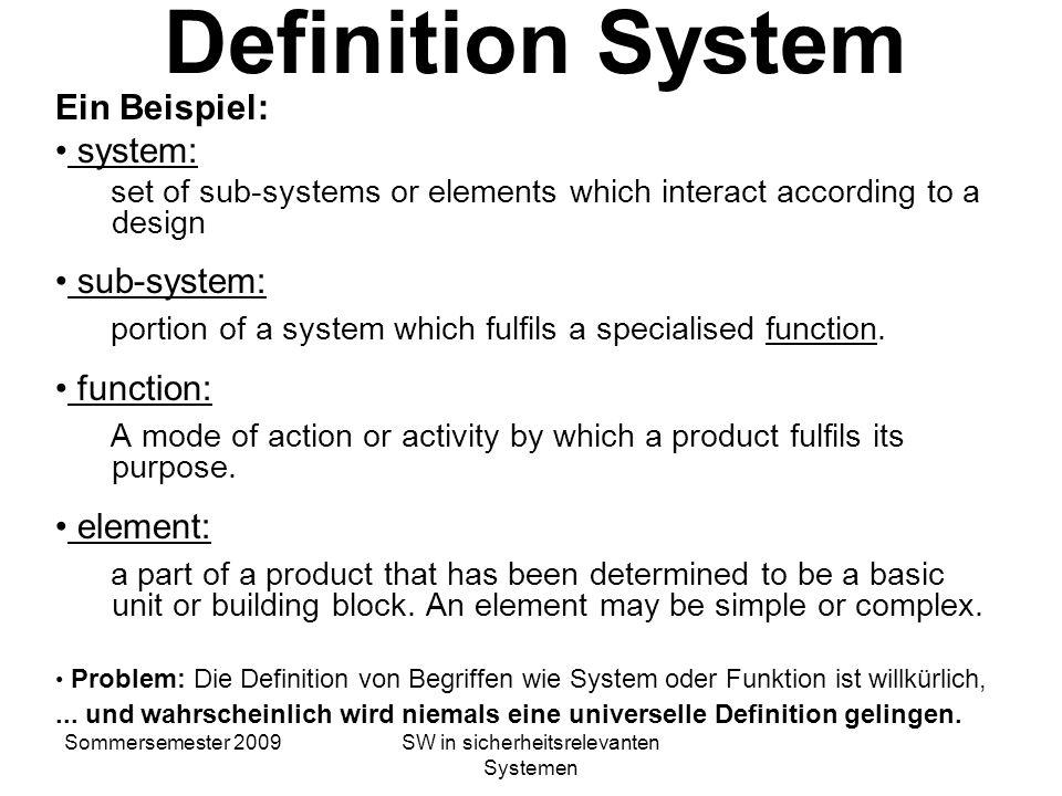 Sommersemester 2009SW in sicherheitsrelevanten Systemen Software für sicherheitsrelevante Systeme Wie entwickelt man Software, die in sicherheitsrelev