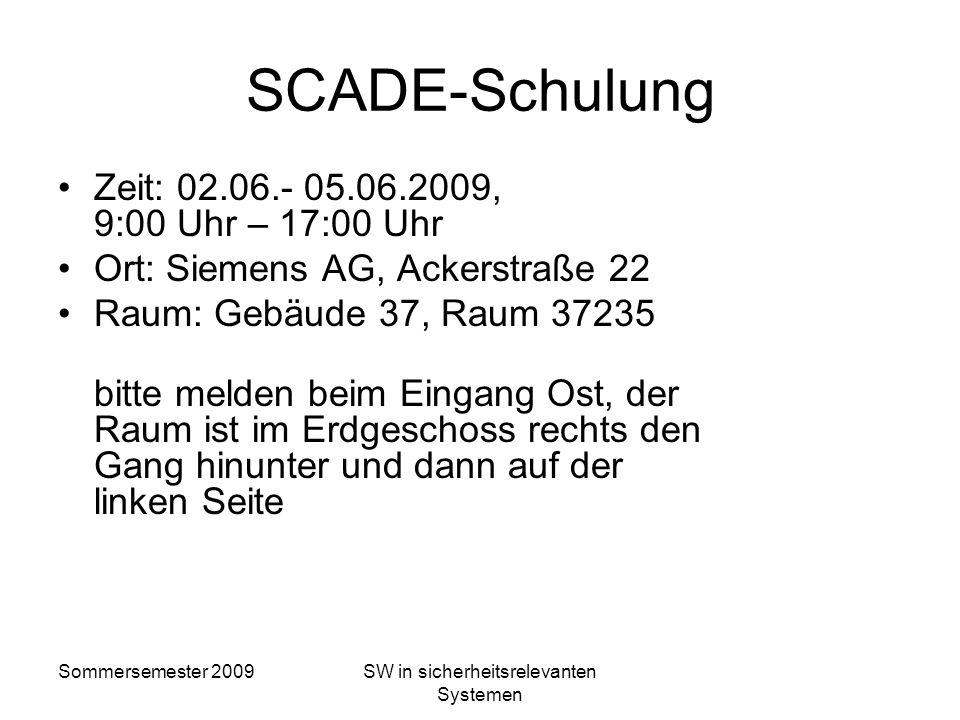 Sommersemester 2009SW in sicherheitsrelevanten Systemen Checkliste: Ist die Systemgrenze klar definiert? Sind an der Systemgrenze die Schnittstellen d