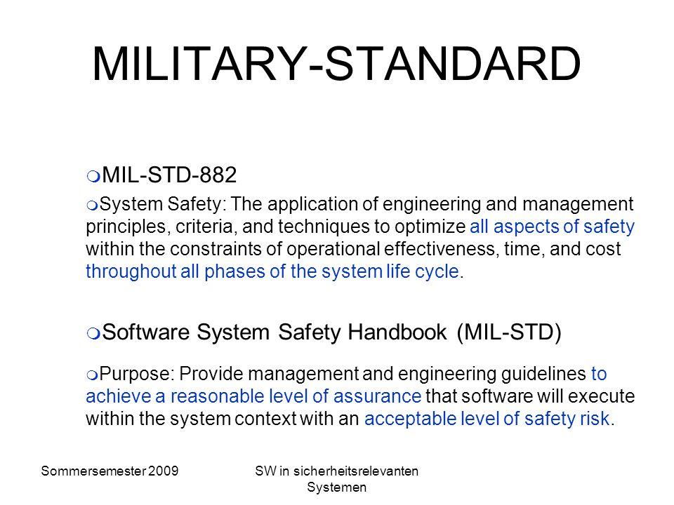 Sommersemester 2009SW in sicherheitsrelevanten Systemen Definitionen von Sicherheit Sicherheit nach Mü8004: Die Fähigkeit einer Sicherungsanlage, bei