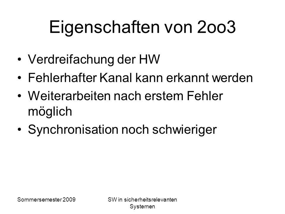 Sommersemester 2009SW in sicherheitsrelevanten Systemen Rechnerarchitektur 2oo3