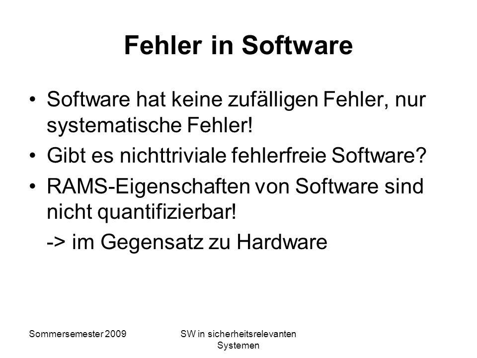 Sommersemester 2009SW in sicherheitsrelevanten Systemen Definition Software Intellektuelle Schöpfung, die Programme, Verfahren, Regeln und alle dazuge