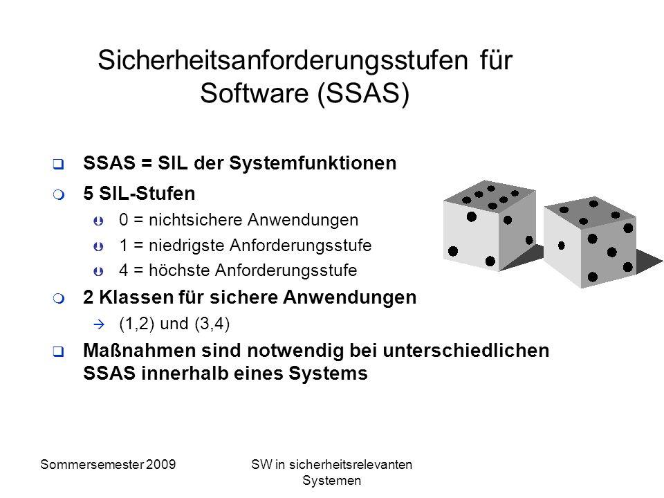 Sommersemester 2009SW in sicherheitsrelevanten Systemen CENELEC nach 50129 Da es nicht möglich ist, die Sicherheit gegen systematische Fehler mit quan