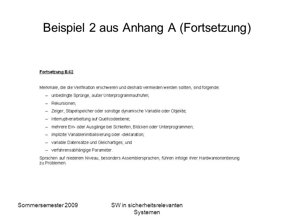 Sommersemester 2009SW in sicherheitsrelevanten Systemen Beispiel 2 aus Anhang A (Fortsetzung)