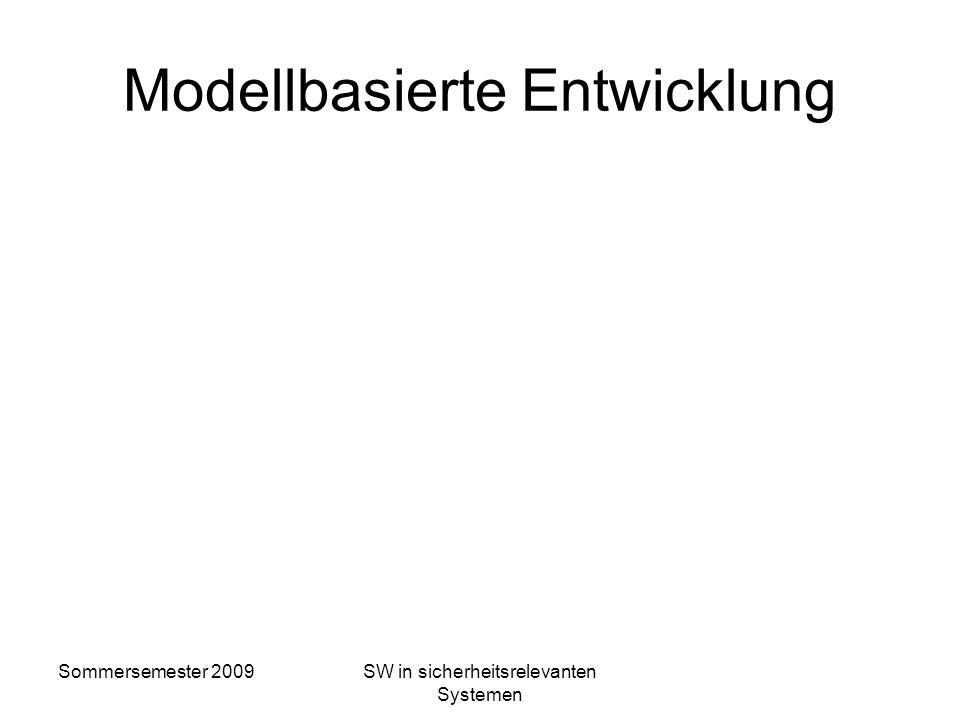 Sommersemester 2009SW in sicherheitsrelevanten Systemen Zusammenfassung EN 50128 m Vorgaben für den Entwicklungsprozeß m Festlegung von Maßnahmen und