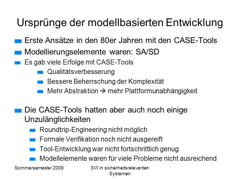 Sommersemester 2009SW in sicherheitsrelevanten Systemen Modellbasierte Entwicklung