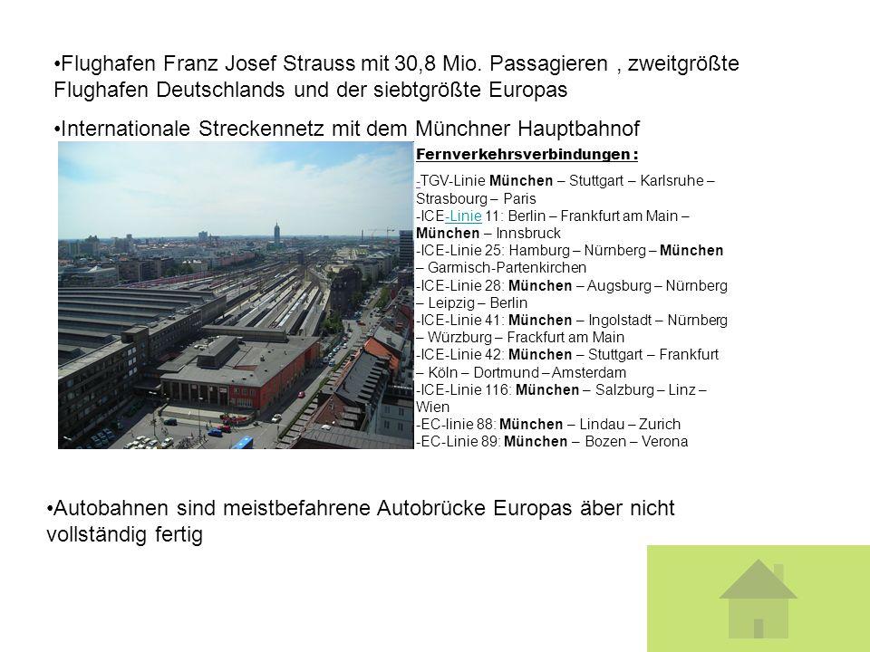 Flughafen Franz Josef Strauss mit 30,8 Mio. Passagieren, zweitgrößte Flughafen Deutschlands und der siebtgrößte Europas Internationale Streckennetz mi