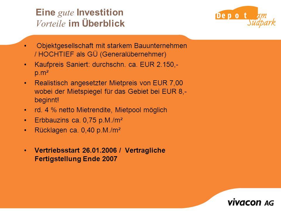 Eine gute Investition Vorteile im Überblick Objektgesellschaft mit starkem Bauunternehmen / HOCHTIEF als GÜ (Generalübernehmer) Kaufpreis Saniert: durchschn.