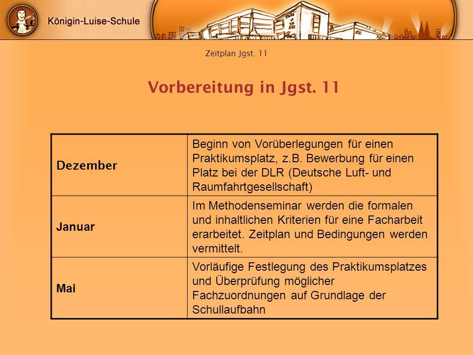Zeitplan Jgst. 11 Dezember Beginn von Vorüberlegungen für einen Praktikumsplatz, z.B. Bewerbung für einen Platz bei der DLR (Deutsche Luft- und Raumfa