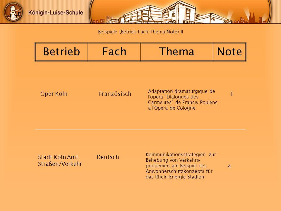Beispiele (Betrieb-Fach-Thema-Note) II BetriebFachThemaNote Oper KölnFranzösisch1 4 Adaptation dramaturgique de l'opera