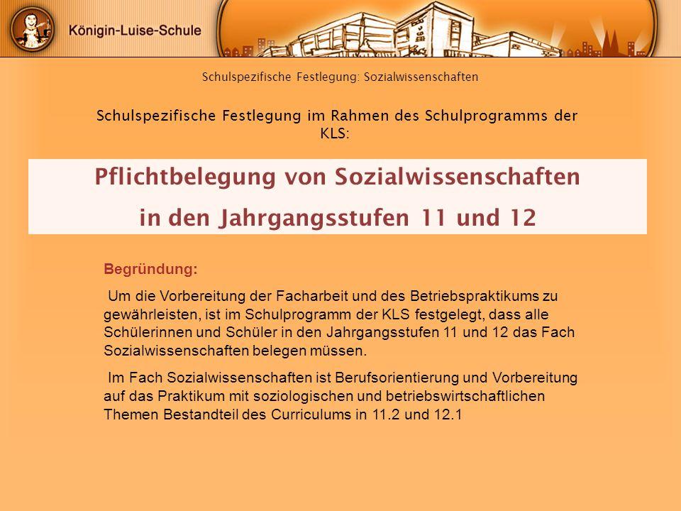 Schulspezifische Festlegung: Sozialwissenschaften Begründung: Um die Vorbereitung der Facharbeit und des Betriebspraktikums zu gewährleisten, ist im S