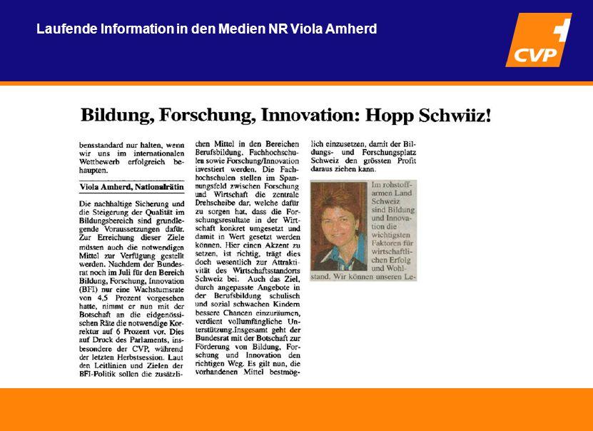 Laufende Information in den Medien NR Viola Amherd