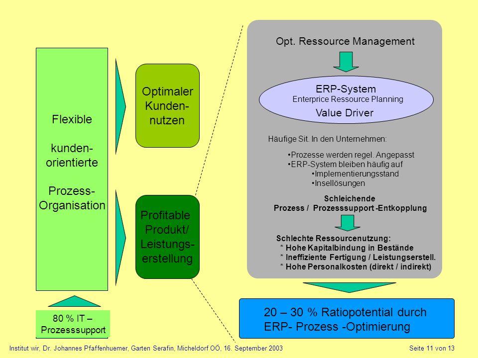 Flexible kunden- orientierte Prozess- Organisation Optimaler Kunden- nutzen Profitable Produkt/ Leistungs- erstellung Opt. Ressource Management ERP-Sy