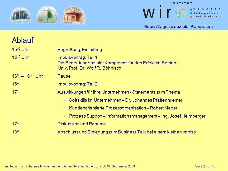 Neue Wege zu sozialer Kompetenz Institut wir, Dr. Johannes Pfaffenhuemer, Garten Serafin, Micheldorf OÖ, 16. September 2003 Seite 2 von 13 Ablauf 15 0