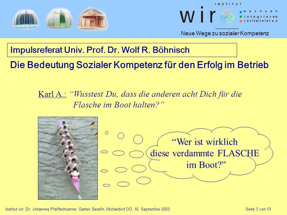 Neue Wege zu sozialer Kompetenz Institut wir, Dr. Johannes Pfaffenhuemer, Garten Serafin, Micheldorf OÖ, 16. September 2003 Seite 3 von 13 Wer ist wir