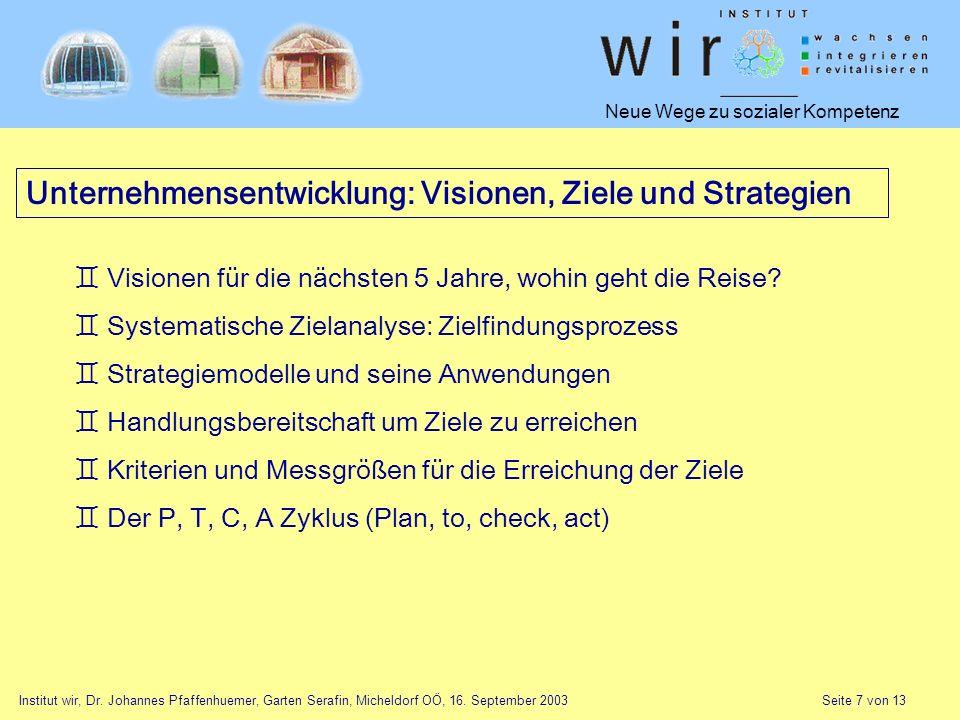 Neue Wege zu sozialer Kompetenz Institut wir, Dr. Johannes Pfaffenhuemer, Garten Serafin, Micheldorf OÖ, 16. September 2003 Seite 7 von 13 Unternehmen