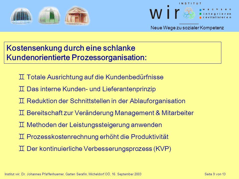 Neue Wege zu sozialer Kompetenz Institut wir, Dr. Johannes Pfaffenhuemer, Garten Serafin, Micheldorf OÖ, 16. September 2003 Seite 9 von 13 Kostensenku