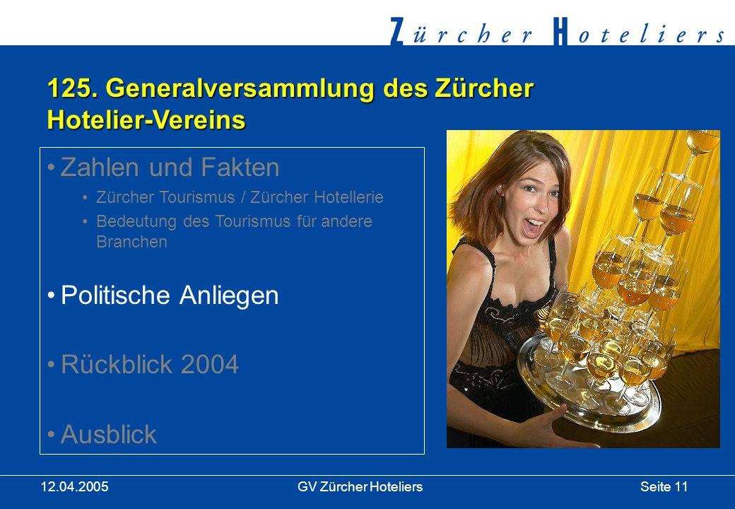 Seite 11GV Zürcher Hoteliers 12.04.2005 125.