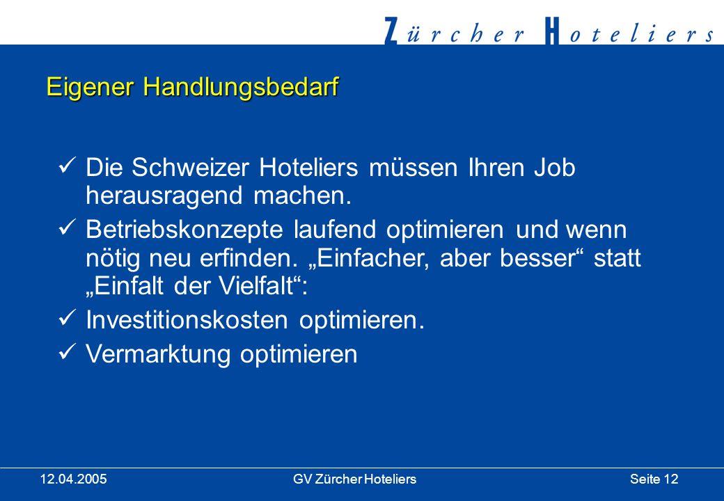 Seite 12GV Zürcher Hoteliers 12.04.2005 Eigener Handlungsbedarf Die Schweizer Hoteliers müssen Ihren Job herausragend machen.