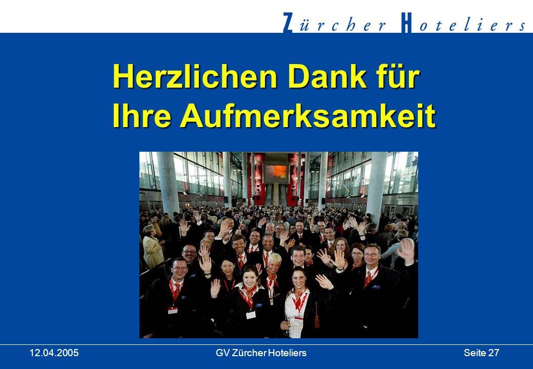 Seite 27GV Zürcher Hoteliers 12.04.2005 Herzlichen Dank für Ihre Aufmerksamkeit