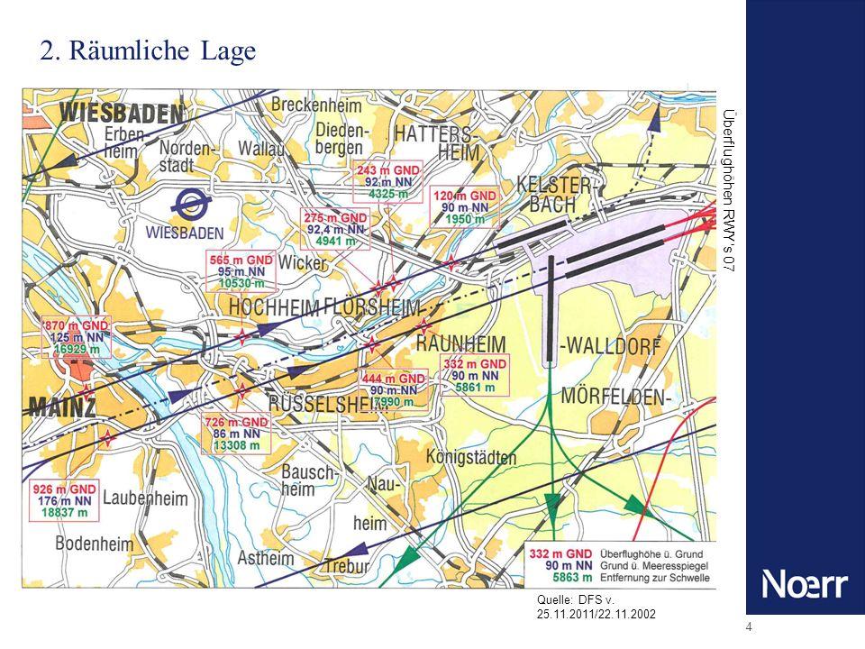 4 2. Räumliche Lage Quelle: DFS v. 25.11.2011/22.11.2002 Überflughöhen RWYs 07