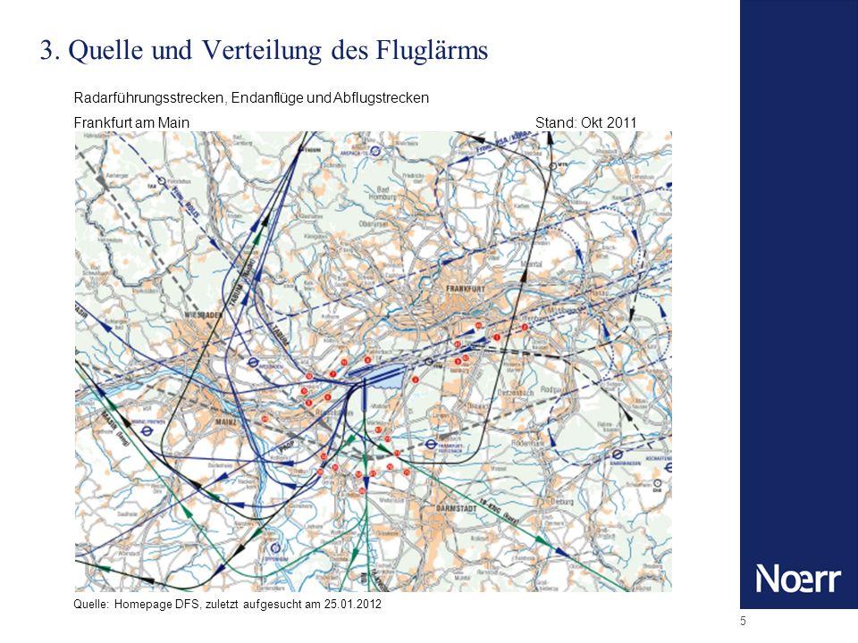 5 3. Quelle und Verteilung des Fluglärms Radarführungsstrecken, Endanflüge und Abflugstrecken Frankfurt am MainStand: Okt 2011 Quelle: Homepage DFS, z