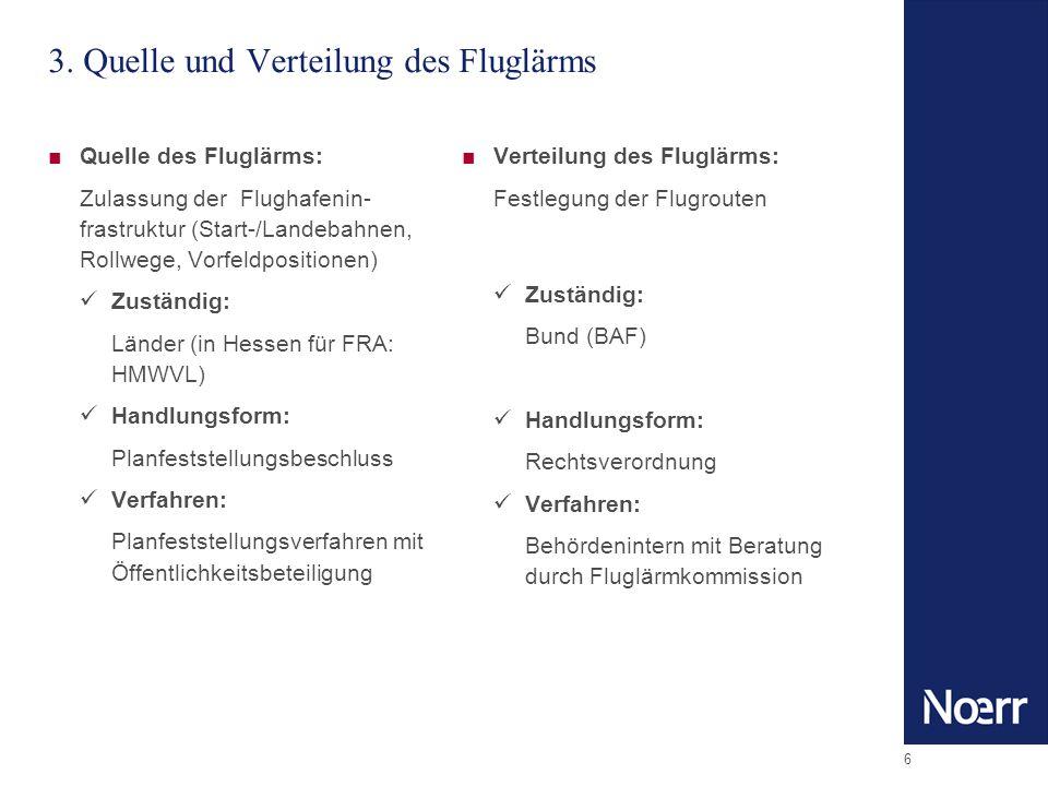 6 3. Quelle und Verteilung des Fluglärms Quelle des Fluglärms: Zulassung der Flughafenin- frastruktur (Start-/Landebahnen, Rollwege, Vorfeldpositionen