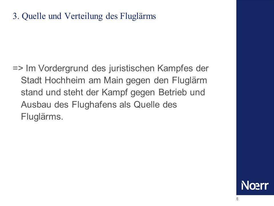 8 3. Quelle und Verteilung des Fluglärms => Im Vordergrund des juristischen Kampfes der Stadt Hochheim am Main gegen den Fluglärm stand und steht der