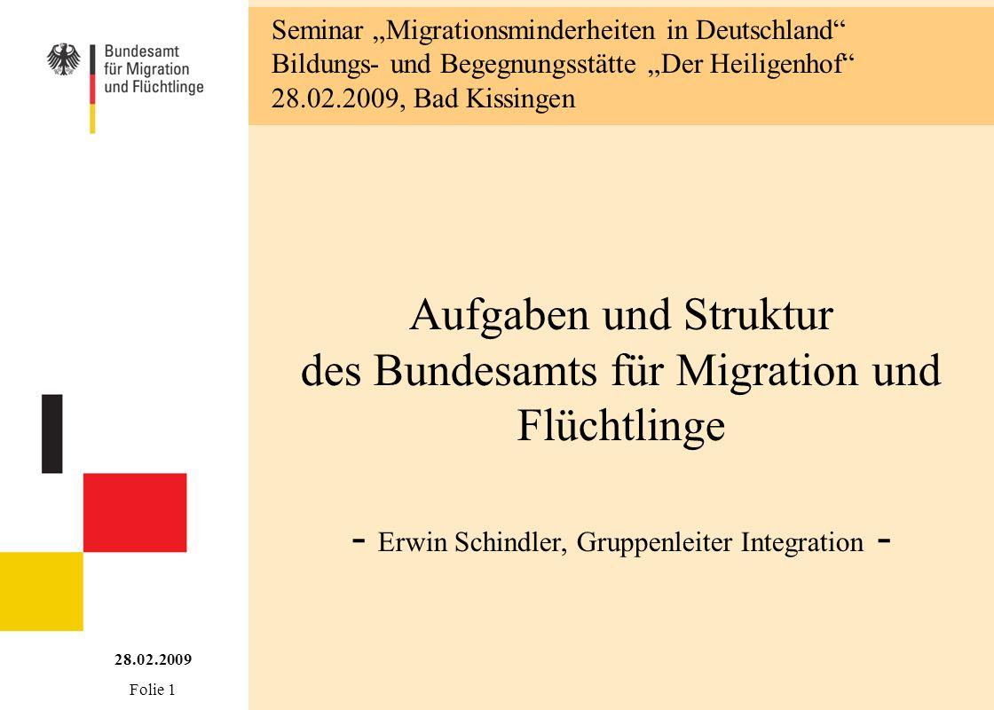 Aufgaben und Struktur des Bundesamts für Migration und Flüchtlinge - Erwin Schindler, Gruppenleiter Integration - 28.02.2009 Folie 1 Seminar Migration