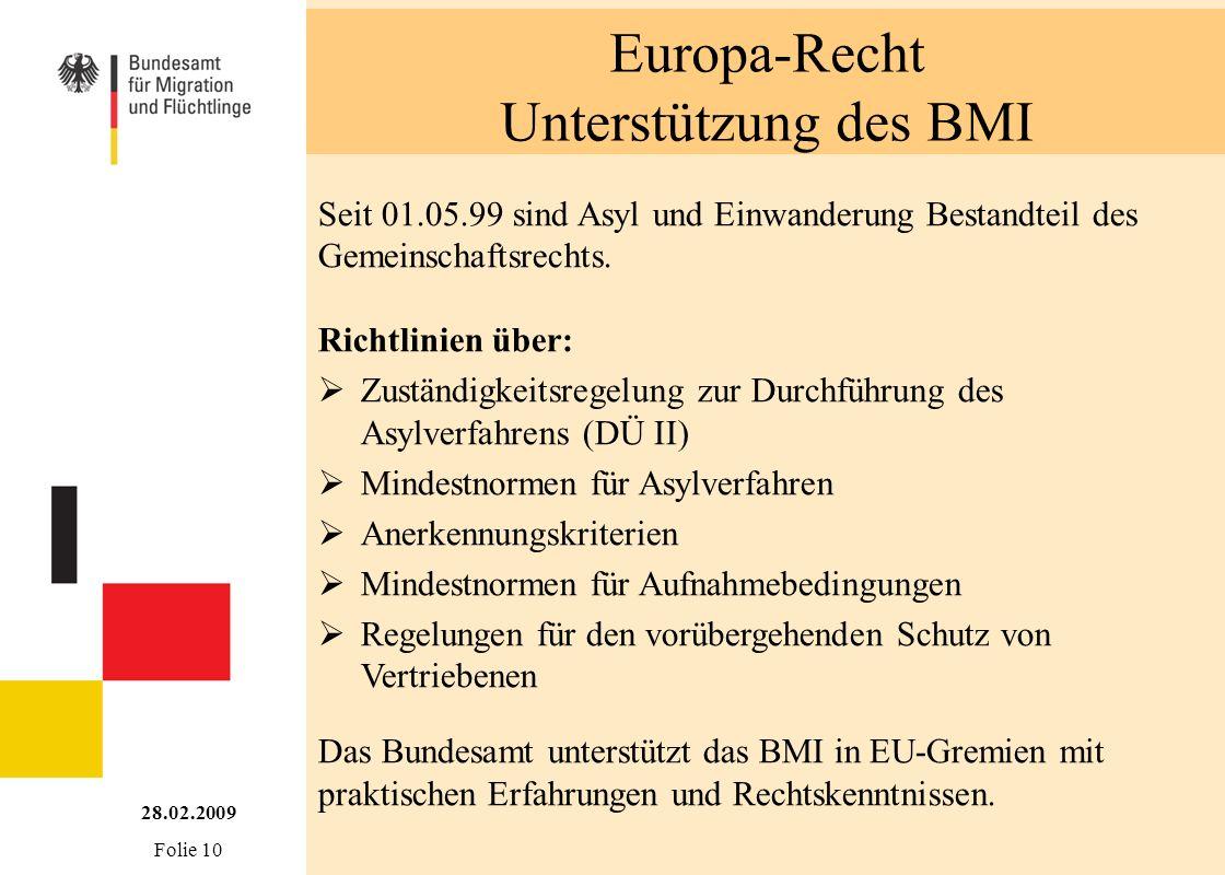 Europa-Recht Unterstützung des BMI Seit 01.05.99 sind Asyl und Einwanderung Bestandteil des Gemeinschaftsrechts. Richtlinien über: Zuständigkeitsregel