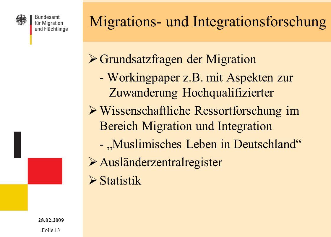 Migrations- und Integrationsforschung Grundsatzfragen der Migration - Workingpaper z.B. mit Aspekten zur Zuwanderung Hochqualifizierter Wissenschaftli