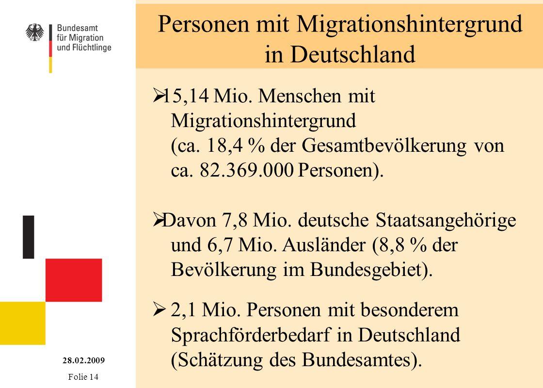 Personen mit Migrationshintergrund in Deutschland 15,14 Mio. Menschen mit Migrationshintergrund (ca. 18,4 % der Gesamtbevölkerung von ca. 82.369.000 P