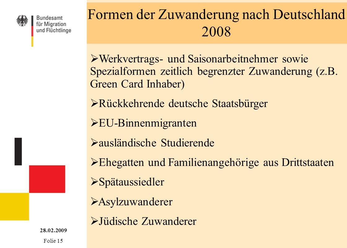 Formen der Zuwanderung nach Deutschland 2008 Werkvertrags- und Saisonarbeitnehmer sowie Spezialformen zeitlich begrenzter Zuwanderung (z.B. Green Card