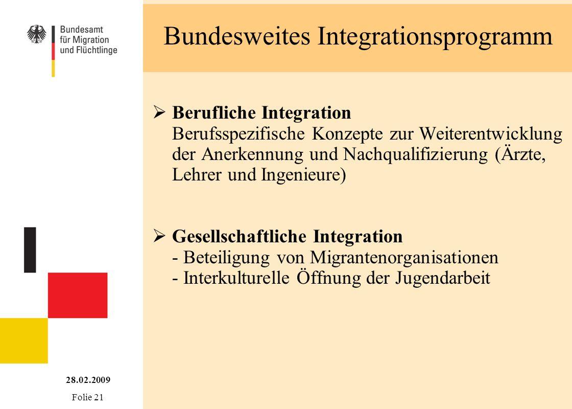 Bundesweites Integrationsprogramm 28.02.2009 Folie 21 Berufliche Integration Berufsspezifische Konzepte zur Weiterentwicklung der Anerkennung und Nach