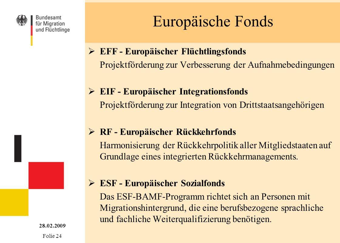 Europäische Fonds 28.02.2009 Folie 24 EFF - Europäischer Flüchtlingsfonds Projektförderung zur Verbesserung der Aufnahmebedingungen EIF - Europäischer