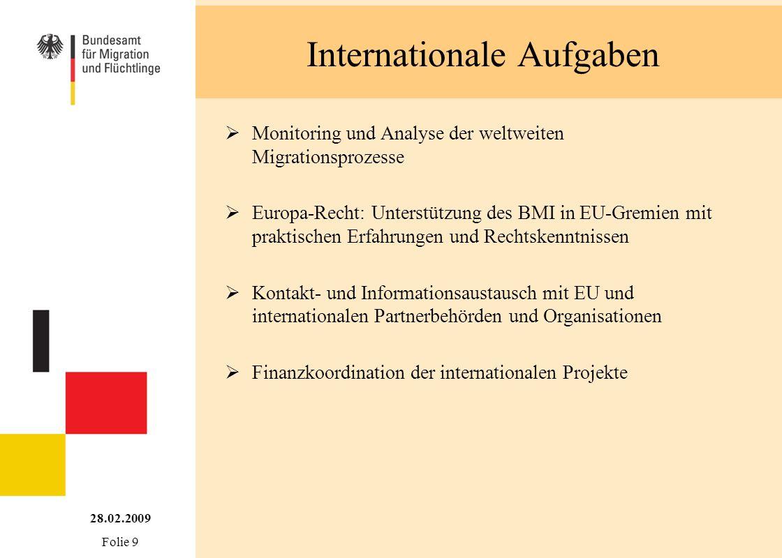 Internationale Aufgaben Monitoring und Analyse der weltweiten Migrationsprozesse Europa-Recht: Unterstützung des BMI in EU-Gremien mit praktischen Erf