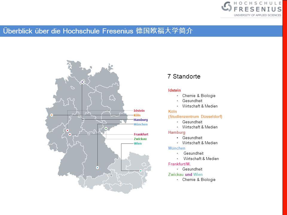Überblick über die Hochschule Fresenius Idstein Chemie & Biologie Gesundheit Wirtschaft & Medien Köln (Studienzentrum Düsseldorf) Gesundheit Wirtschaf
