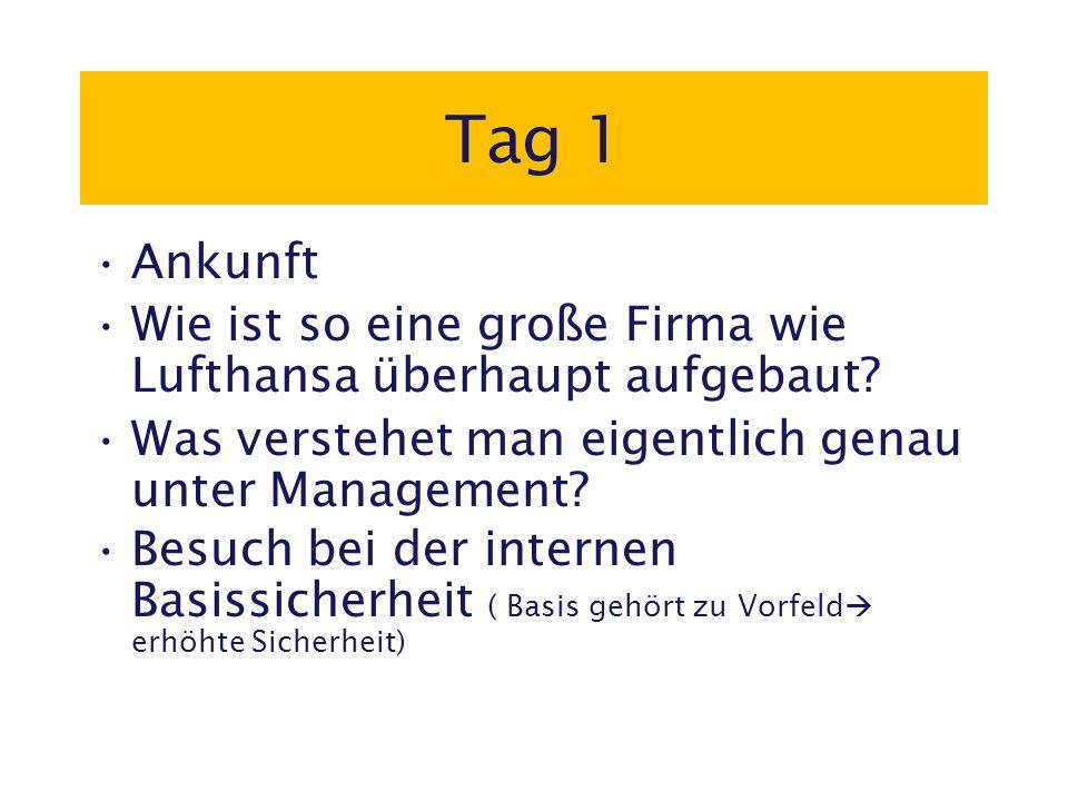 Tag 1 Ankunft Wie ist so eine große Firma wie Lufthansa überhaupt aufgebaut.