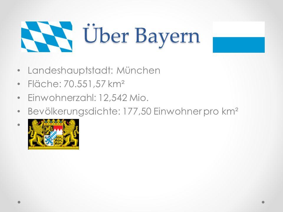 Über Bayern Landeshauptstadt: München Fläche: 70.551,57 km² Einwohnerzahl: 12,542 Mio. Bevölkerungsdichte: 177,50 Einwohner pro km²