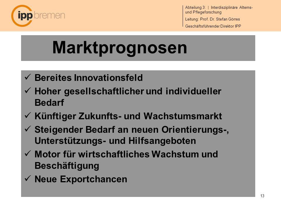 Abteilung 3: | Interdisziplinäre Alterns- und Pflegeforschung Leitung: Prof. Dr. Stefan Görres Geschäftsführender Direktor IPP 13 Marktprognosen Berei