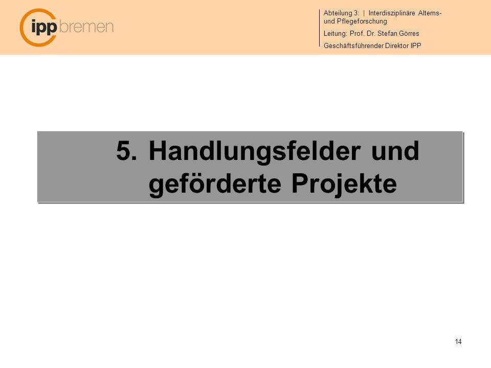 Abteilung 3: | Interdisziplinäre Alterns- und Pflegeforschung Leitung: Prof. Dr. Stefan Görres Geschäftsführender Direktor IPP 14 5.Handlungsfelder un