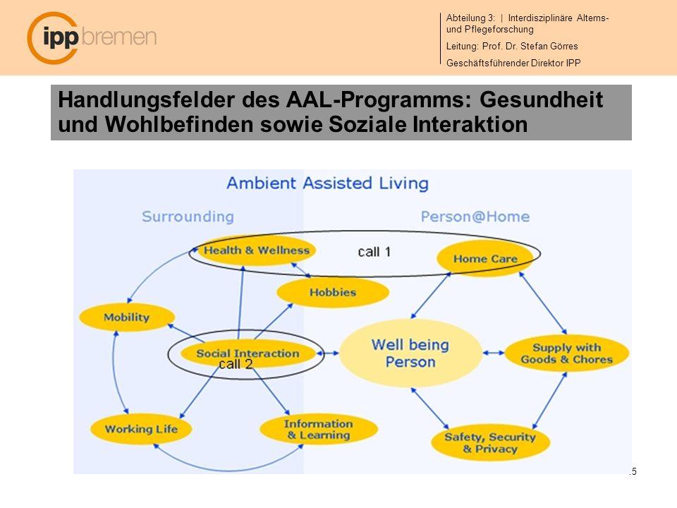 Abteilung 3: | Interdisziplinäre Alterns- und Pflegeforschung Leitung: Prof. Dr. Stefan Görres Geschäftsführender Direktor IPP 15 Handlungsfelder des