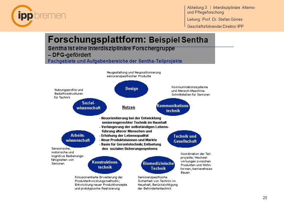 Abteilung 3: | Interdisziplinäre Alterns- und Pflegeforschung Leitung: Prof. Dr. Stefan Görres Geschäftsführender Direktor IPP 20 Forschungsplattform: