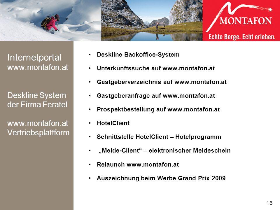 Internetportal www.montafon.at Deskline System der Firma Feratel www.montafon.at Vertriebsplattform Deskline Backoffice-System Unterkunftssuche auf ww