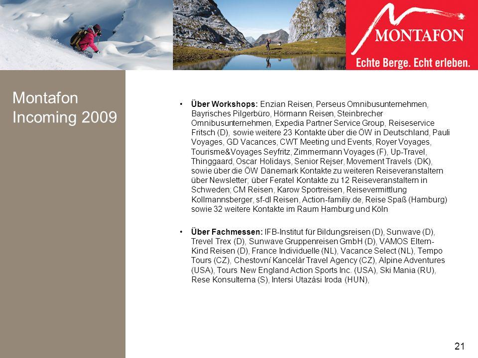 Montafon Incoming 2009 Über Workshops: Enzian Reisen, Perseus Omnibusunternehmen, Bayrisches Pilgerbüro, Hörmann Reisen, Steinbrecher Omnibusunternehm