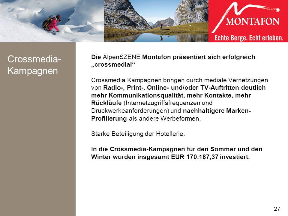 Crossmedia- Kampagnen Die AlpenSZENE Montafon präsentiert sich erfolgreich crossmedial Crossmedia Kampagnen bringen durch mediale Vernetzungen von Rad