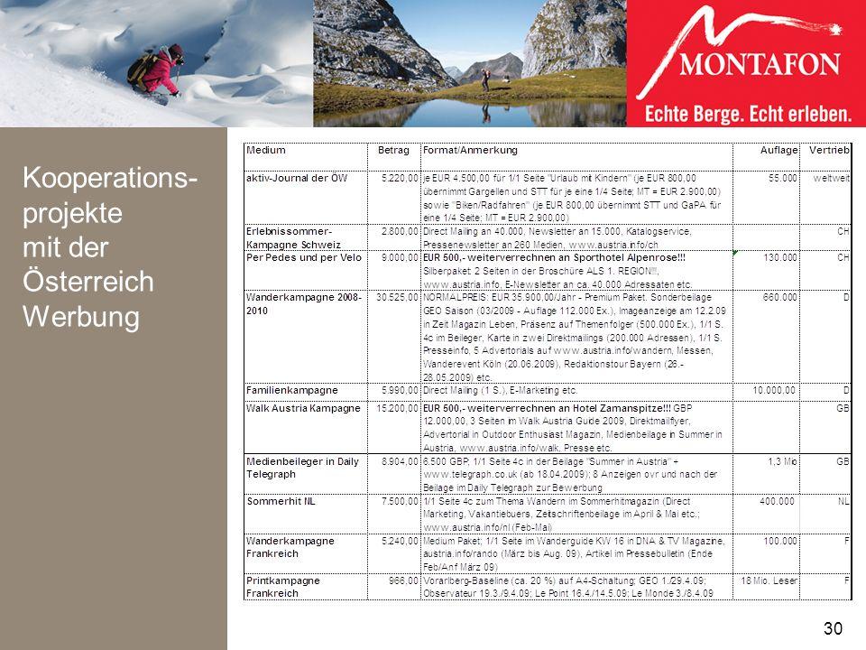 Kooperations- projekte mit der Österreich Werbung 30