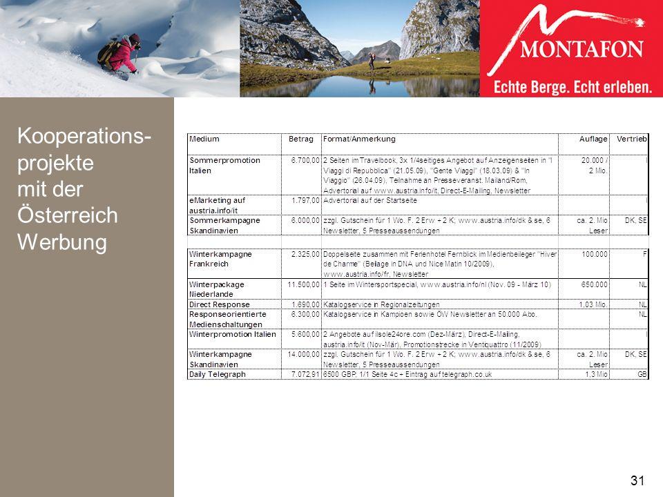 Kooperations- projekte mit der Österreich Werbung 31